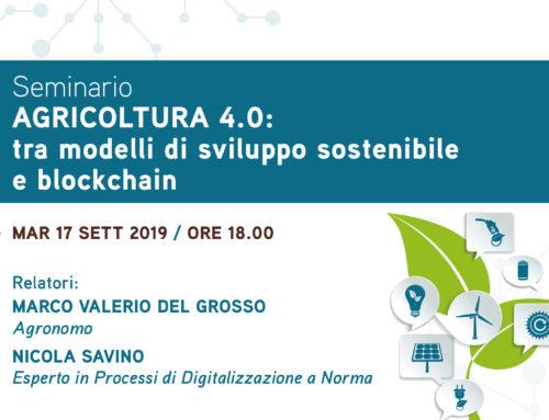 """Nicola Savino relatore del seminario di Fondazione Saccone """"Agricoltura 4.0: tra modelli di sviluppo sostenibile e blockchain"""""""