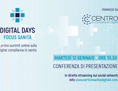 Martedì 12 gennaio presentazione in diretta del Digital Days Focus Sanità